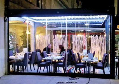 Création d'une fermeture de terrasse en Pergola bioclimatique rideaux de verre coulissants à Mèze (34)